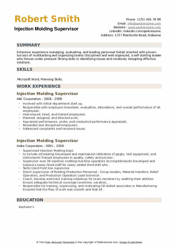 Injection Molding Supervisor Resume example