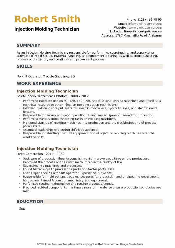 Injection Molding Technician Resume example