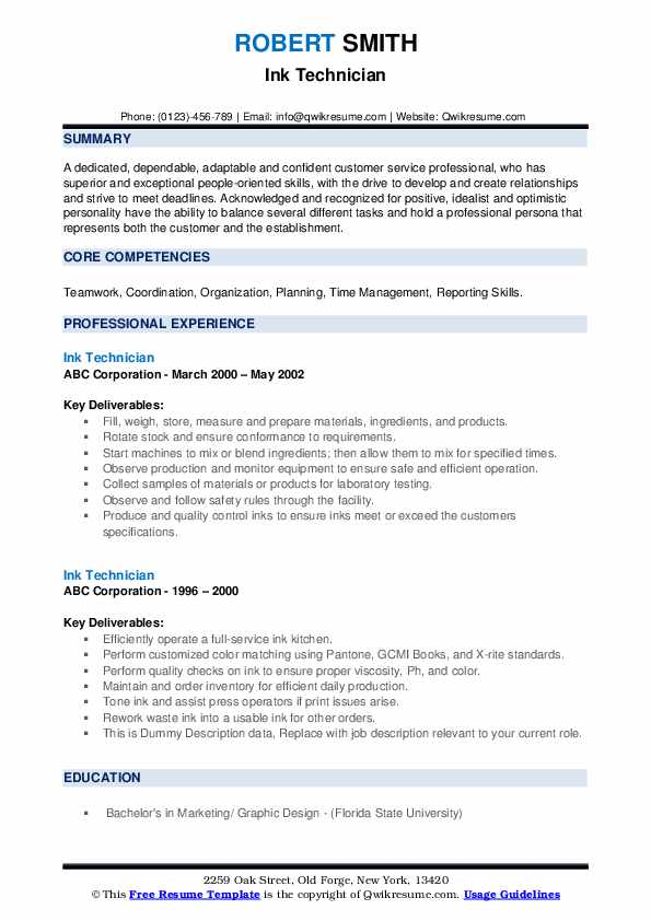 Ink Technician Resume example