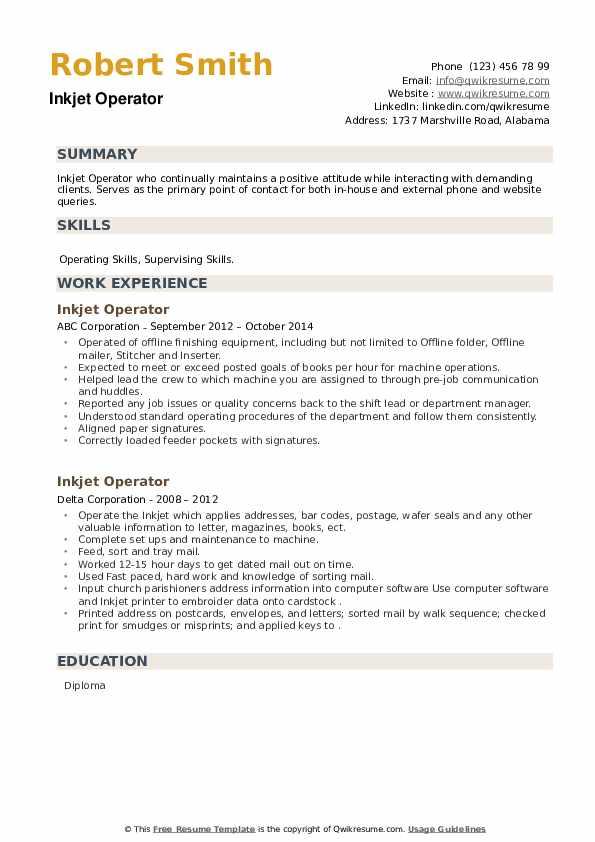 Inkjet Operator Resume example