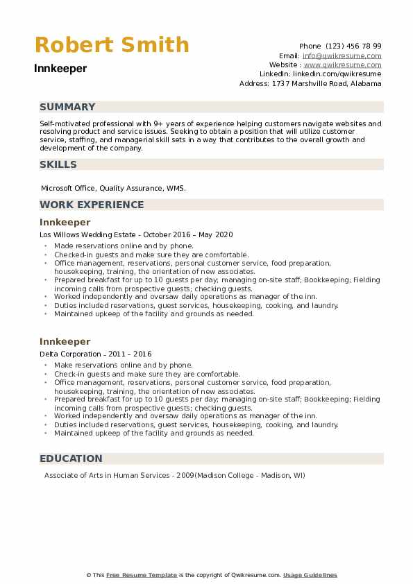 Innkeeper Resume example