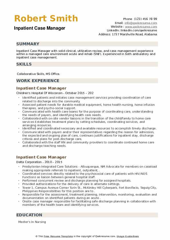 Inpatient Case Manager Resume example