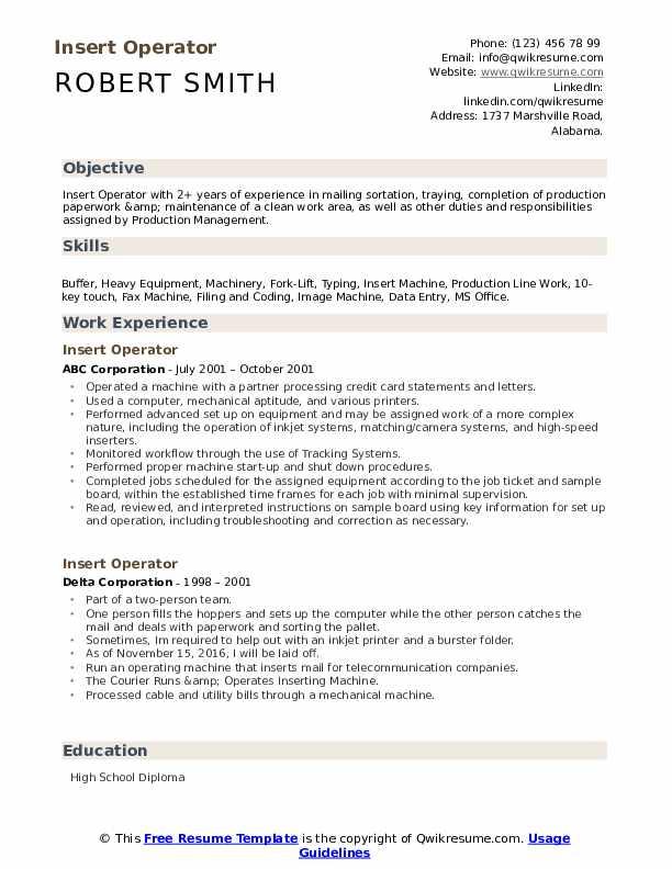 Insert Operator Resume example