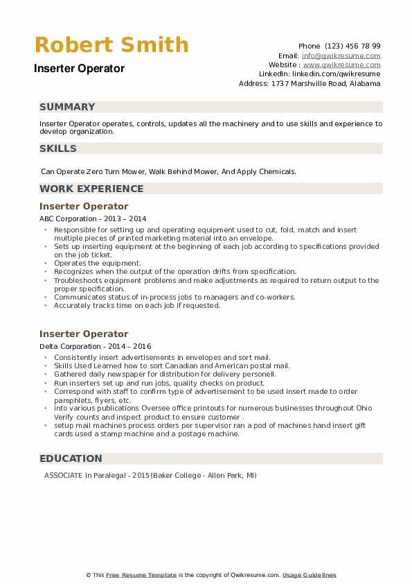 Inserter Operator Resume example