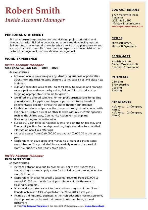 Inside Account Manager Resume example