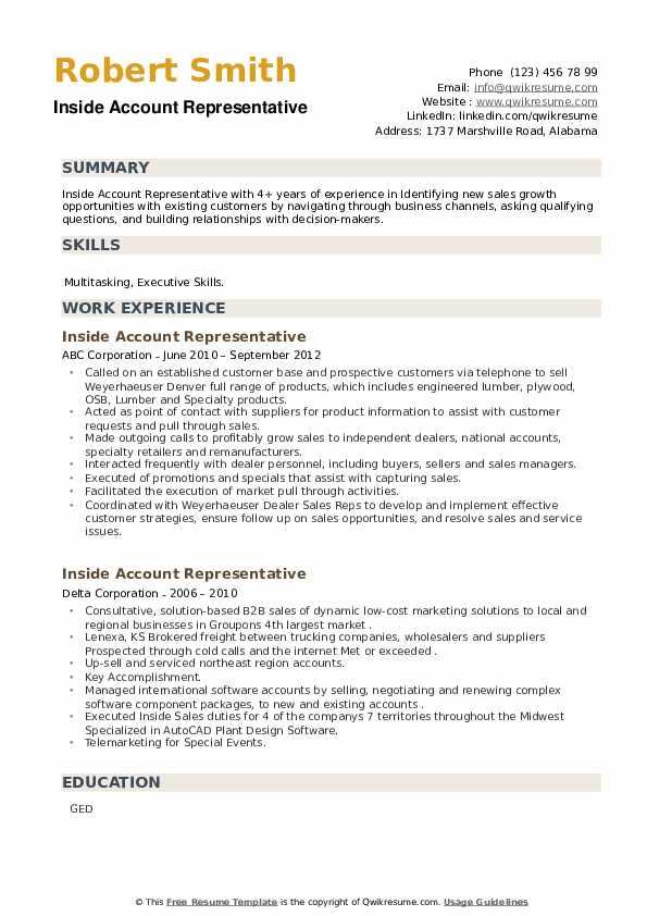Inside Account Representative Resume example