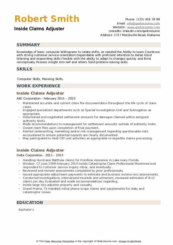 Inside Claims Adjuster Resume example