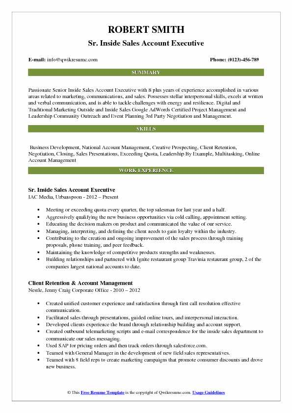 Sr. Inside Sales Account Executive Resume Sample