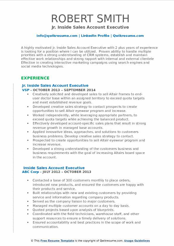 Jr. Inside Sales Account Executive Resume Template