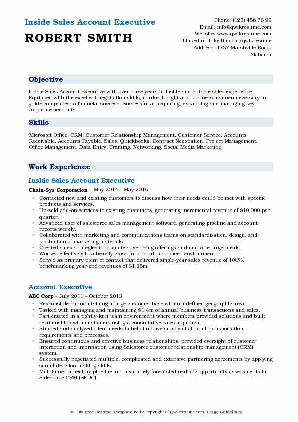 Inside Sales Account Executive Resume Example
