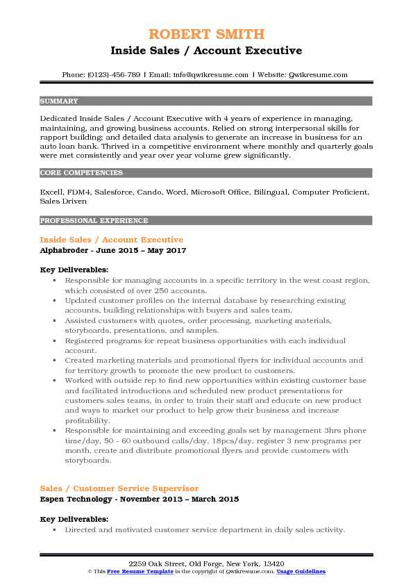 Inside Sales / Account Executive Resume Sample