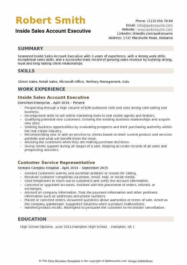 inside sales account executive resume samples