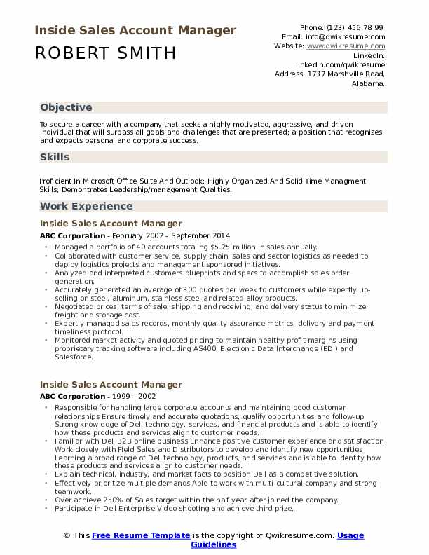 Inside Sales Account Manager Resume Model