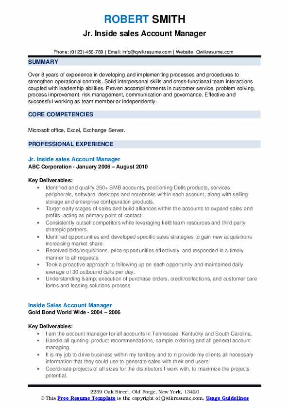 Jr. Inside sales Account Manager Resume Format