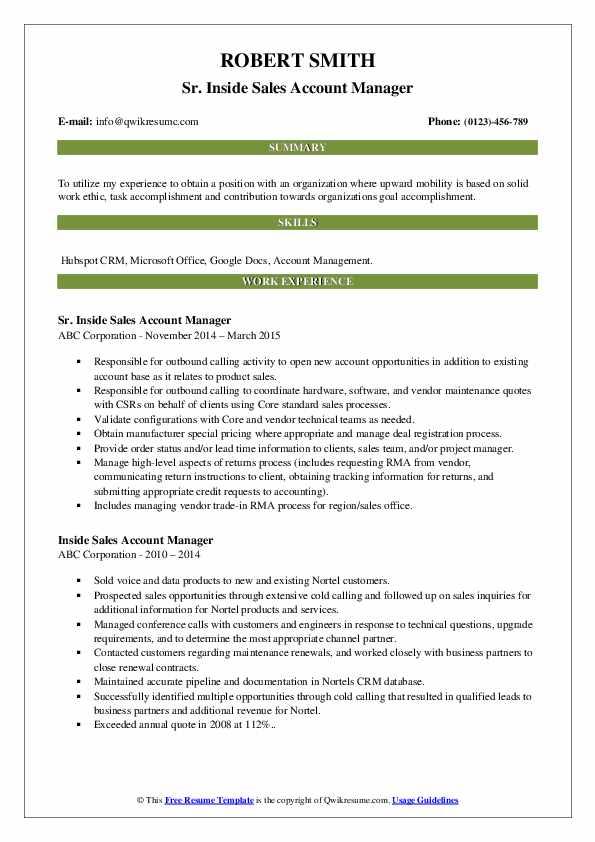 Sr. Inside Sales Account Manager Resume Format