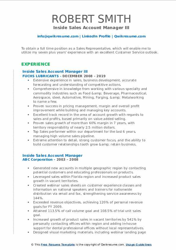 Inside Sales Account Manager III Resume Format