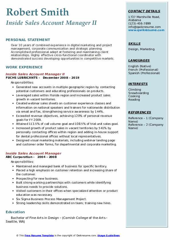 Inside Sales Account Manager II Resume Template