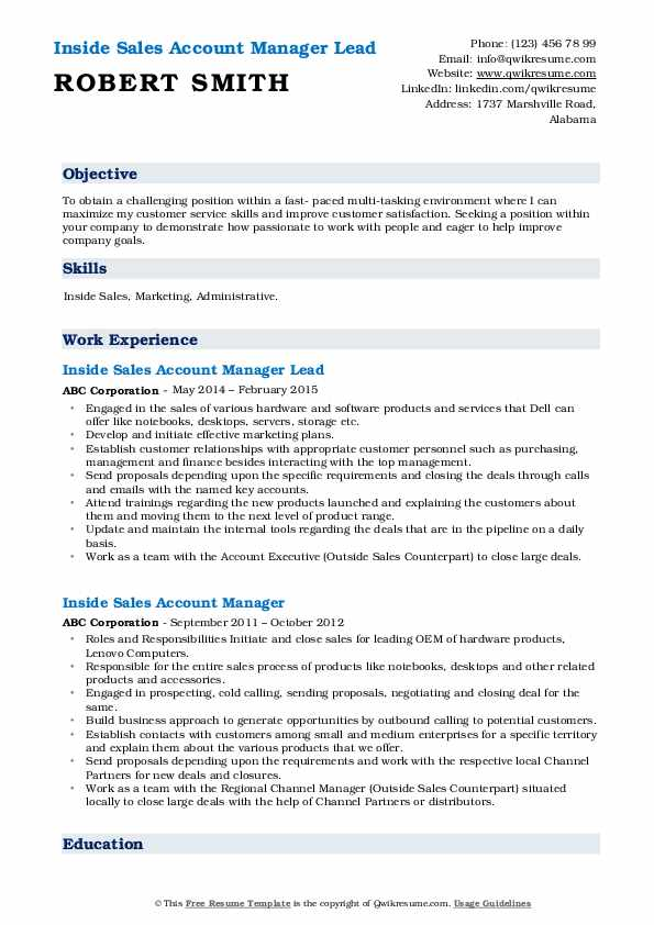 Inside Sales Account Manager Lead Resume Model