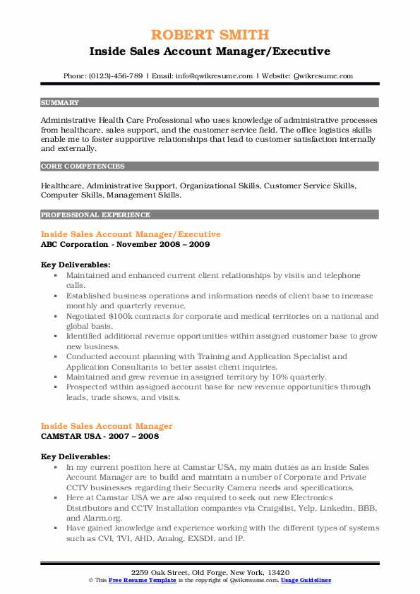 Inside Sales Account Manager/Executive Resume Sample