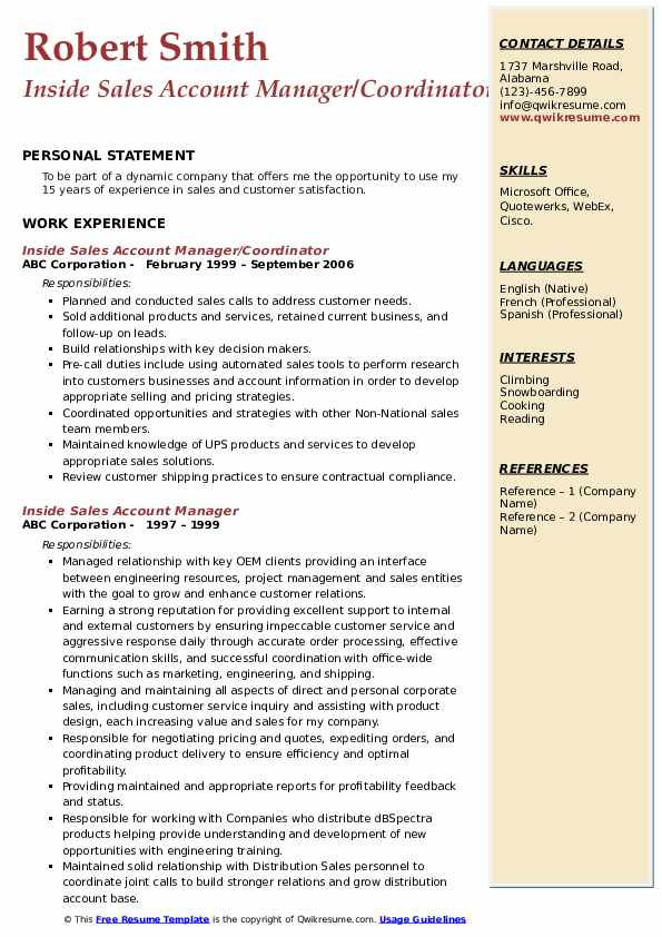 Inside Sales Account Manager/Coordinator Resume Example