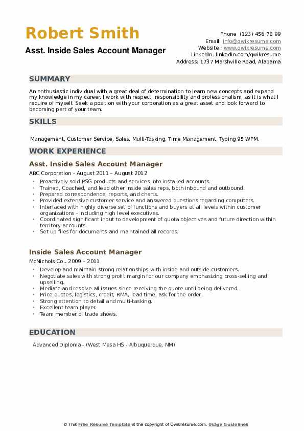 Asst. Inside Sales Account Manager Resume Example