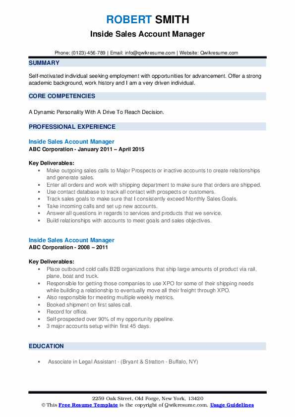 Inside Sales Account Manager Resume example
