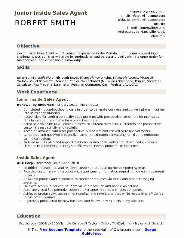 Junior Inside Sales Agent Resume Example