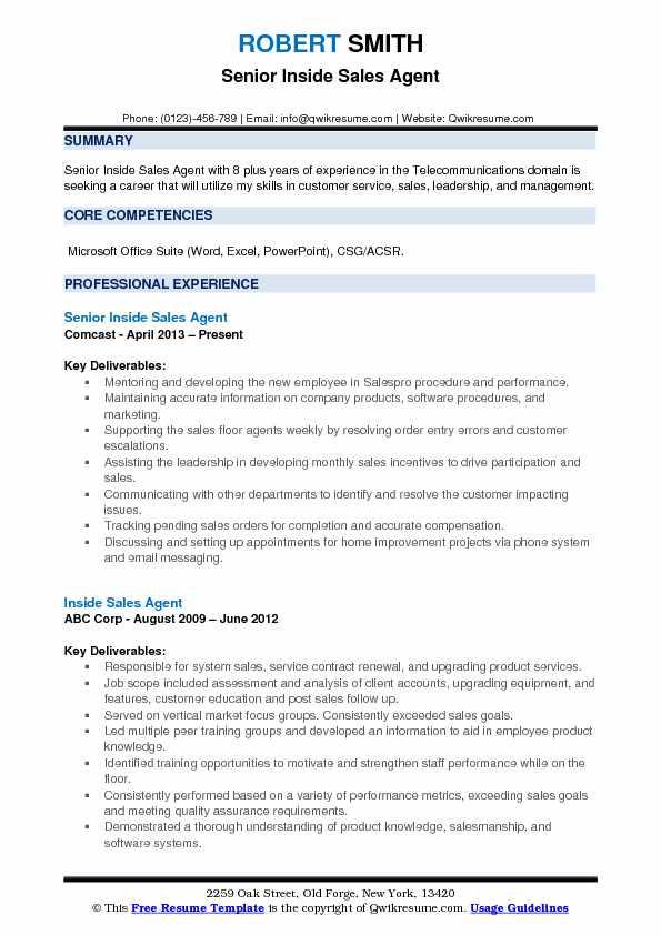 Senior Inside Sales Agent Resume Sample