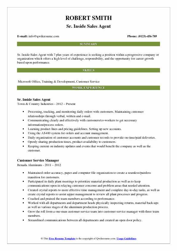 Sr. Inside Sales Agent Resume Sample