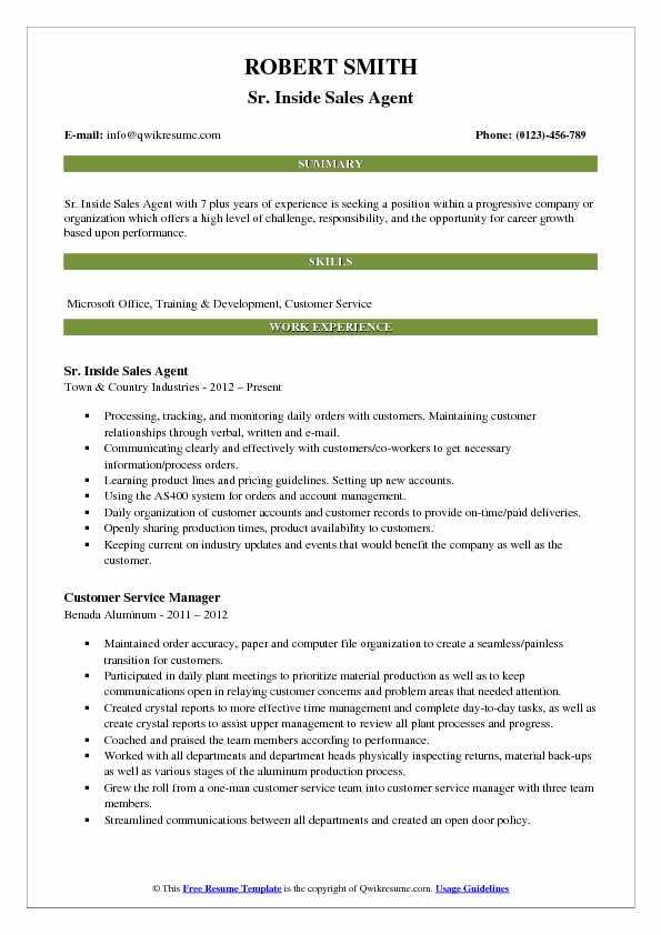 Sr. Inside Sales Agent Resume Template