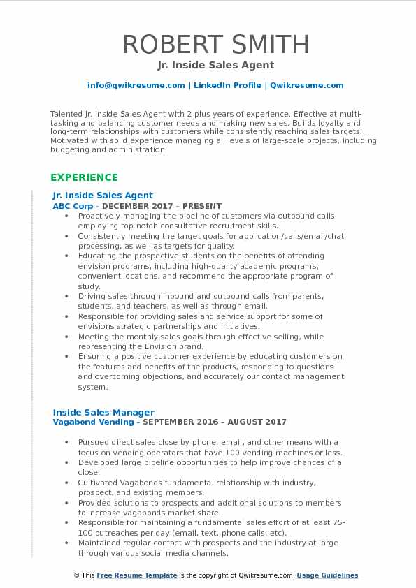 Jr. Inside Sales Agent Resume Template