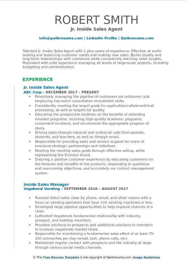 Jr. Inside Sales Agent Resume Model