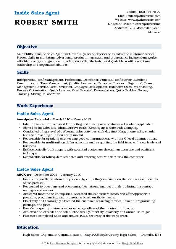 Inside Sales Agent Resume Example