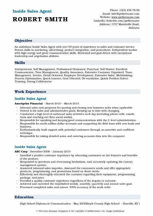 Inside Sales Agent Resume Template