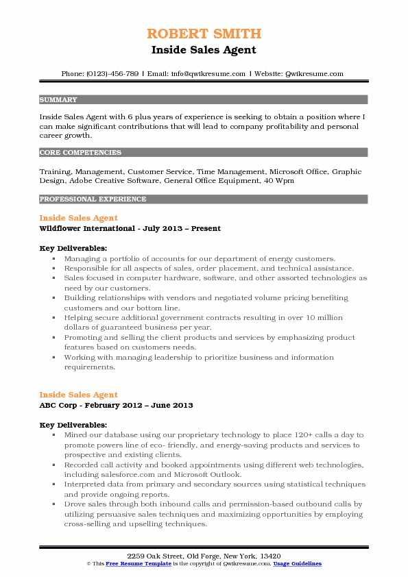 Inside Sales Agent Resume Template