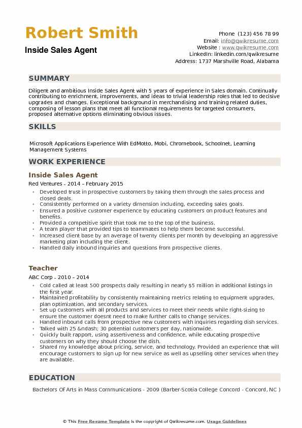 Inside Sales Agent Resume Format