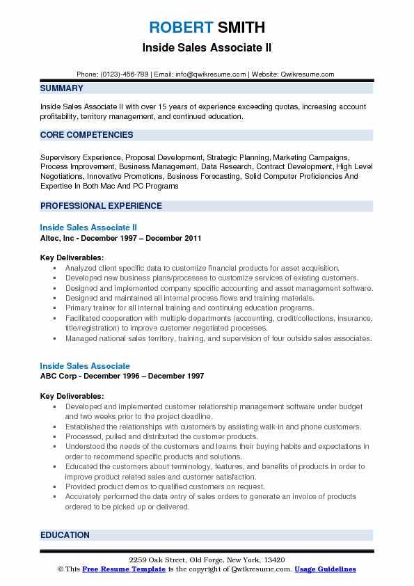 Inside Sales Associate II Resume Sample