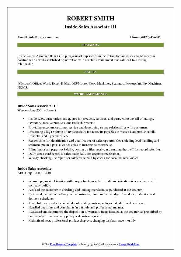 Inside Sales Associate III Resume Model