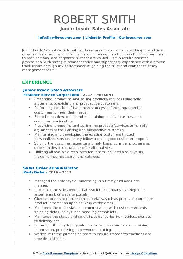 Junior Inside Sales Associate Resume Sample