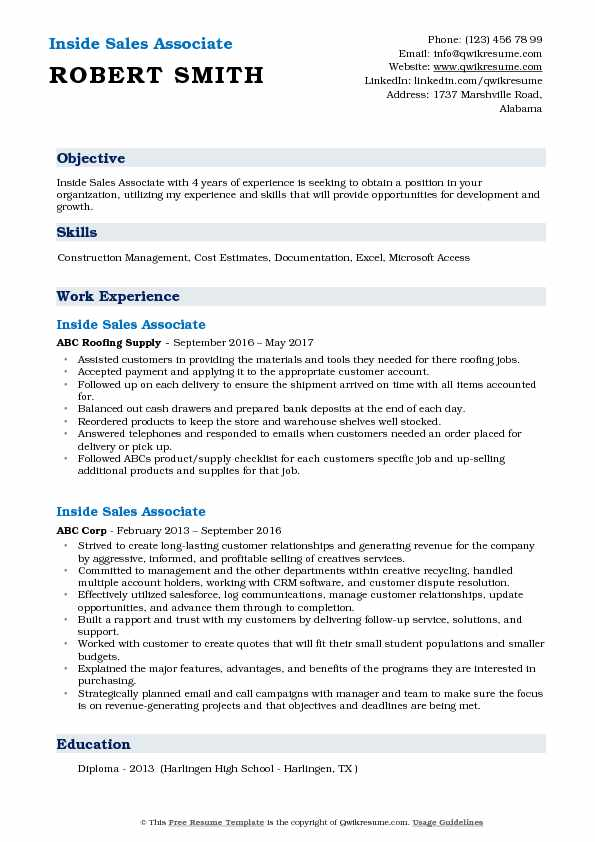 Inside Sales Associate Resume Example