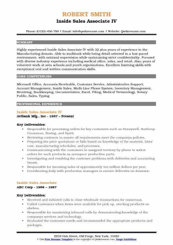 Inside Sales Associate IV Resume Template