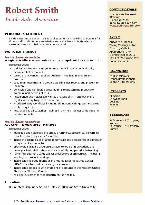 Inside Sales Associate Resume Format