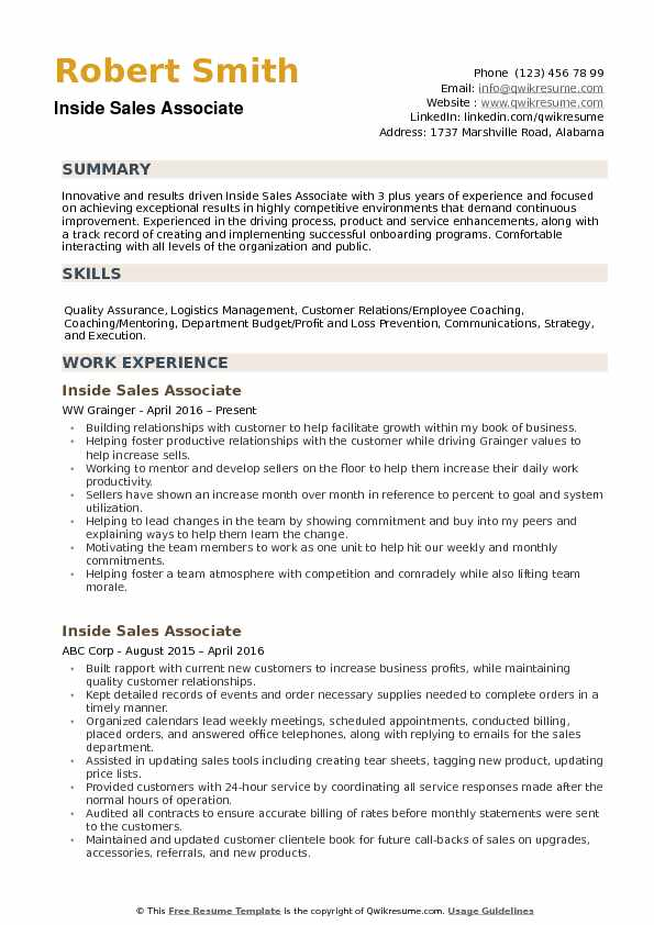 inside sales associate resume samples