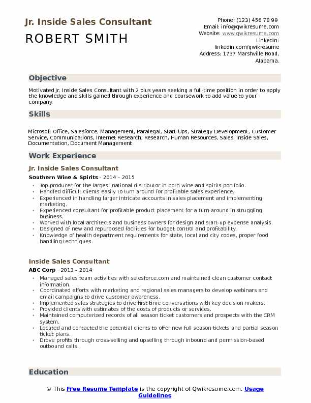 Jr. Inside Sales Consultant Resume Example
