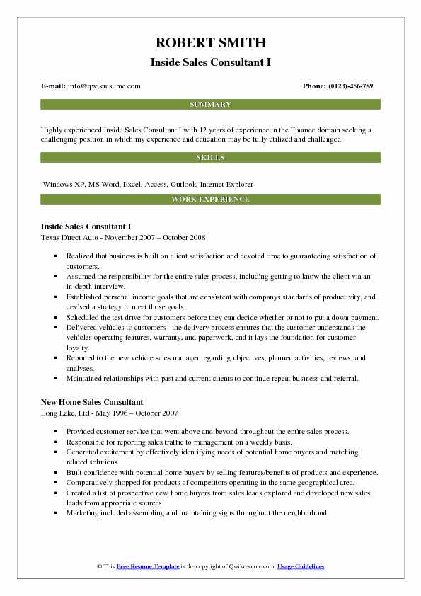 Inside Sales Consultant I Resume Example