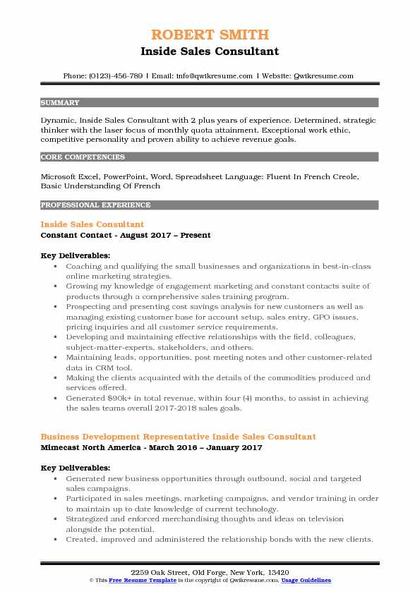 Inside Sales Consultant Resume Template