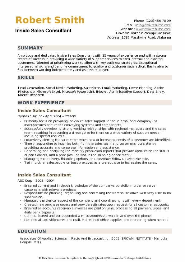 Inside Sales Consultant Resume example