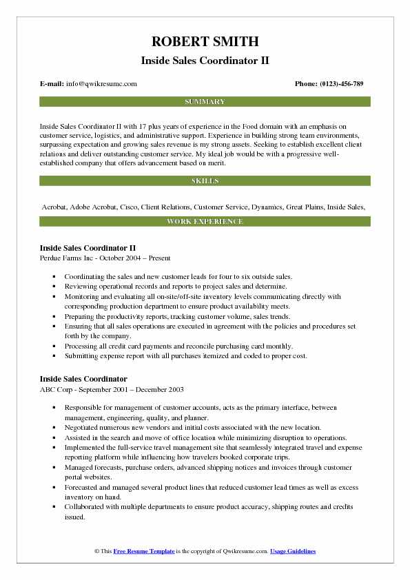 Inside Sales Coordinator Resume Samples Qwikresume