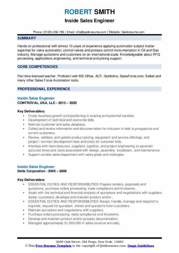 inside sales engineer resume samples  qwikresume