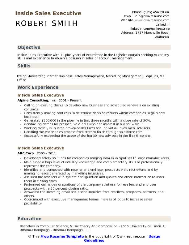 Inside Sales Executive Resume Format